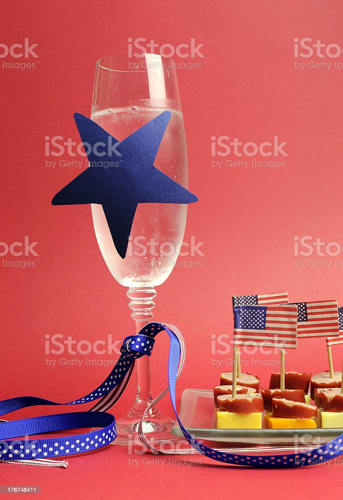 Happy Fourth 4th of July party table setting. royalty-free stock photo