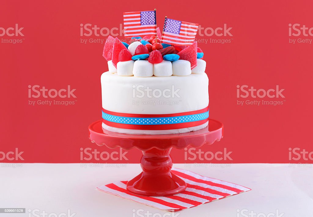 Happy Fourth of July celebration cake. stock photo