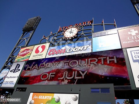 San Francisco, CA - July 3, 2011: 'Happy Fourth of July' Sign with flag on Scoreboard in between innings of game at AT&T Park.