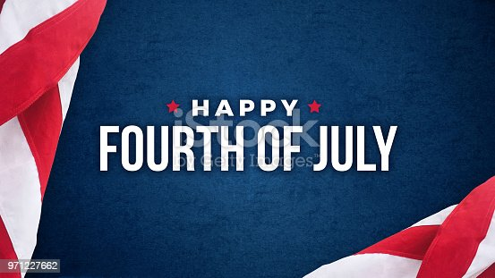 istock Happy Fourth of July Text Over Blue Texture and American Flags 971227662