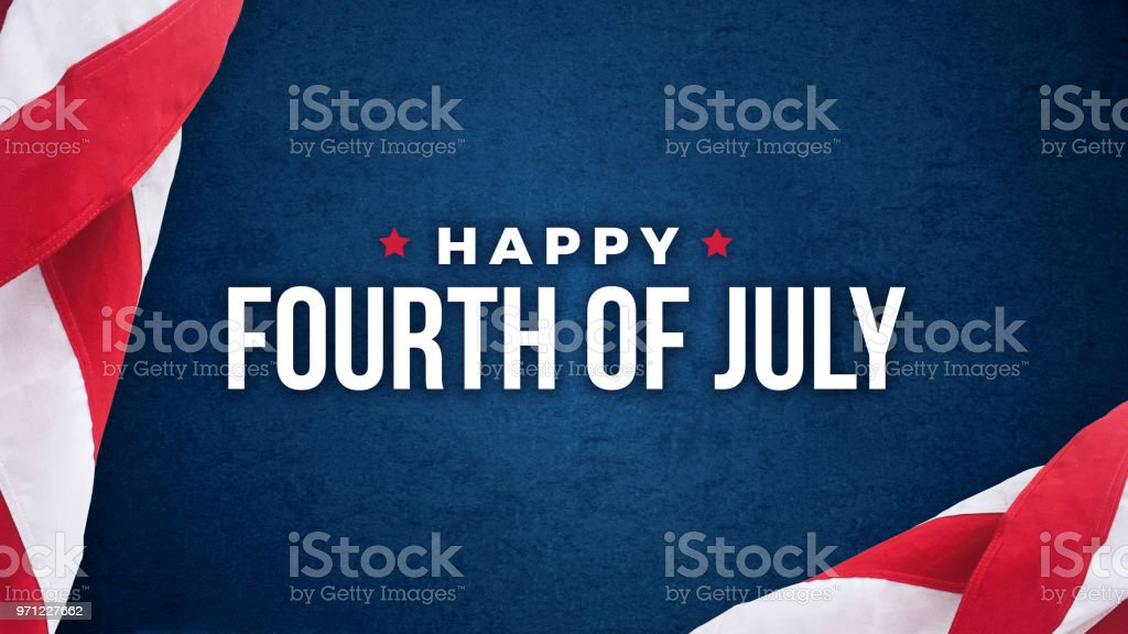 Happy Fourth of July Text Over Blue Texture and American Flags stock photo