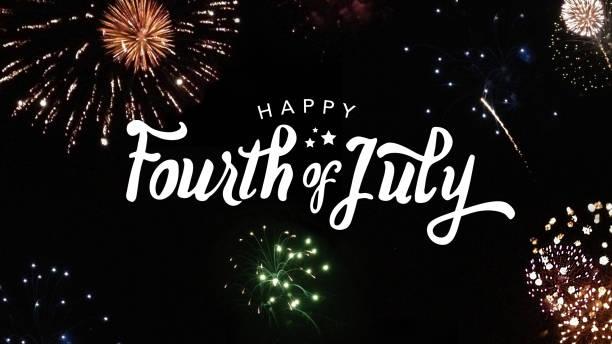 happy fourth of july typography - fourth of july стоковые фото и изображения
