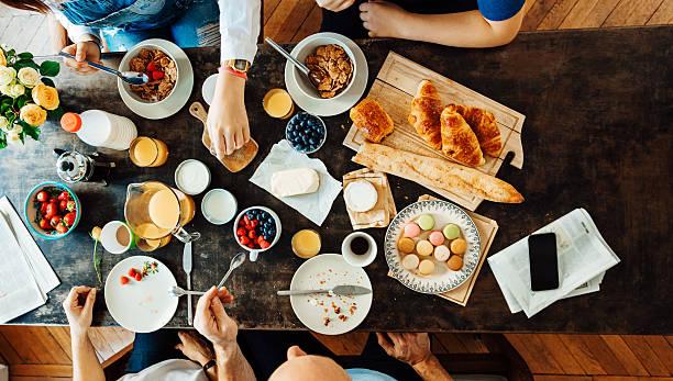 Happy french Family Having Breakfast stock photo