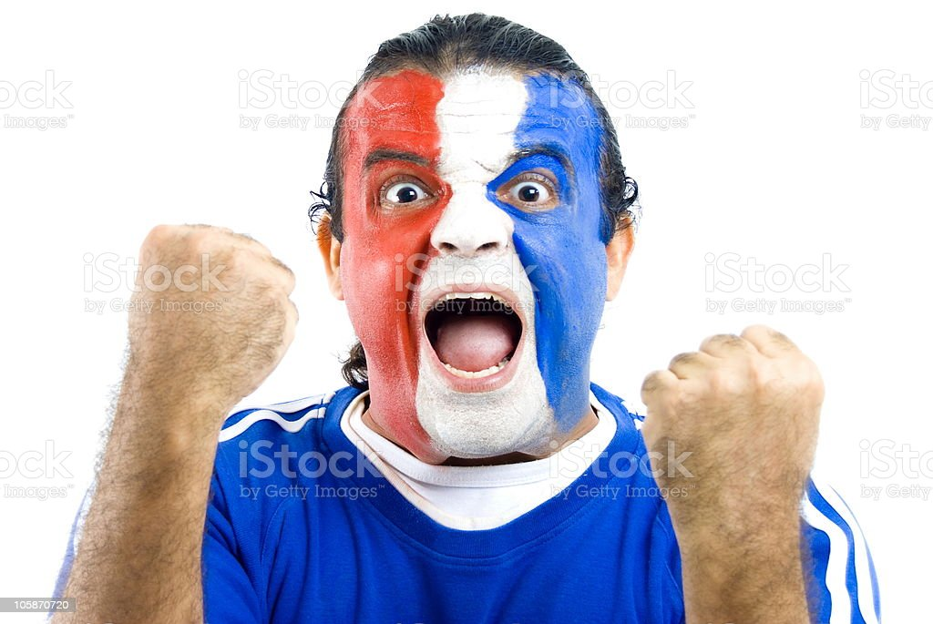 Happy French Supporter stock photo