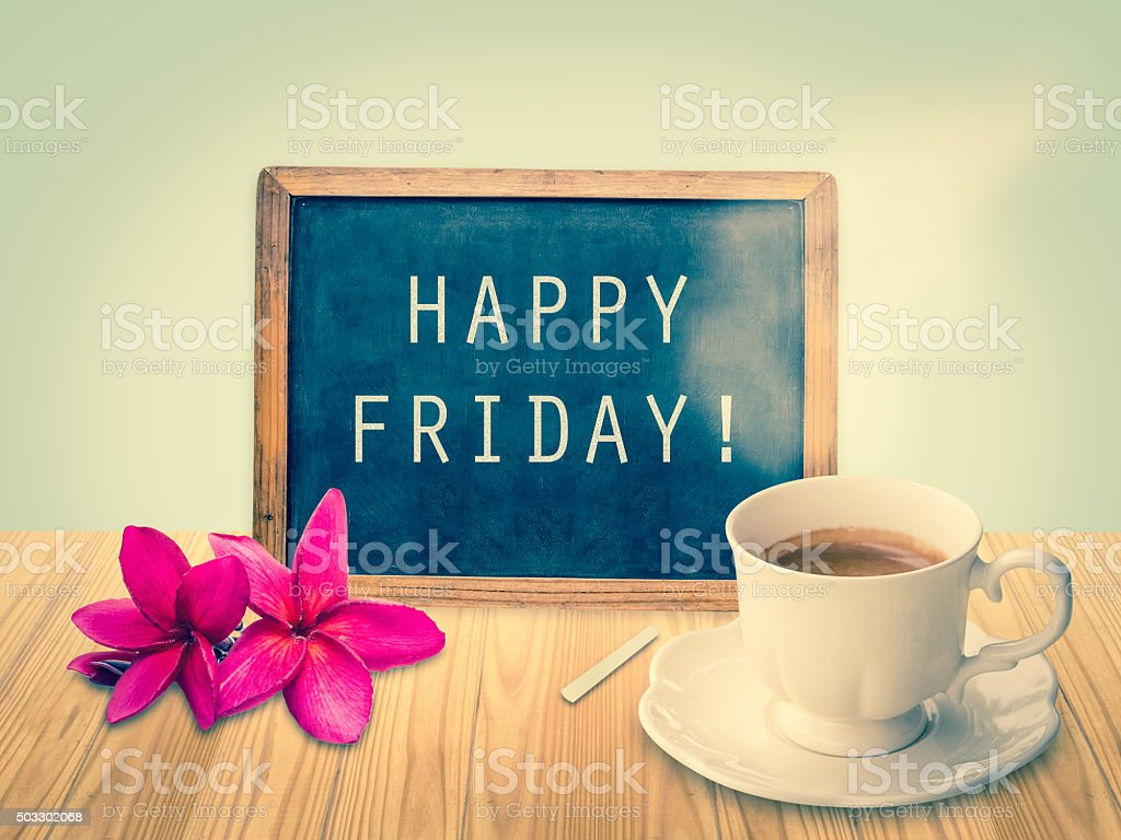 Happy Friday on chalkboard stock photo