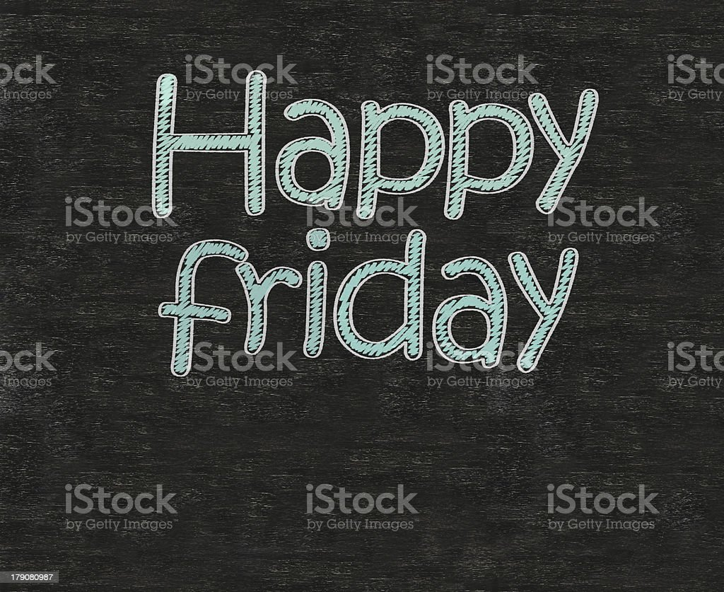 happy friday written on blackboard background, working fun business concept. royalty-free stock photo