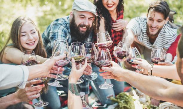 glückliche freunde jubeln mit rotwein bei picknick grill im freien - junge leute, die spaß beim trinken, essen und entspannen - schwerpunkt zentrum gläser - jugendkonzept lifestyle und freundschaft - essen tattoos stock-fotos und bilder
