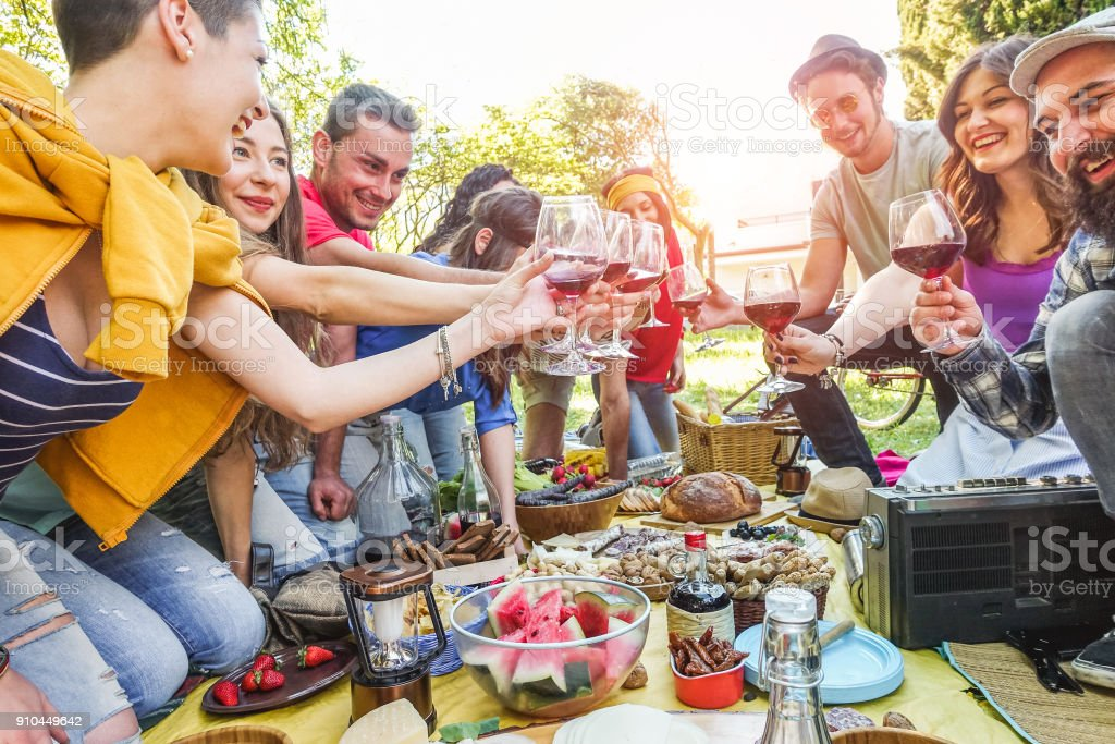 Happy friends cheering with red wine at picnic party outdoor - Young trendy people having fun doing together at summer dinner - Food, friendship, taste and youth lifestyle concept - Focus on glasses stock photo