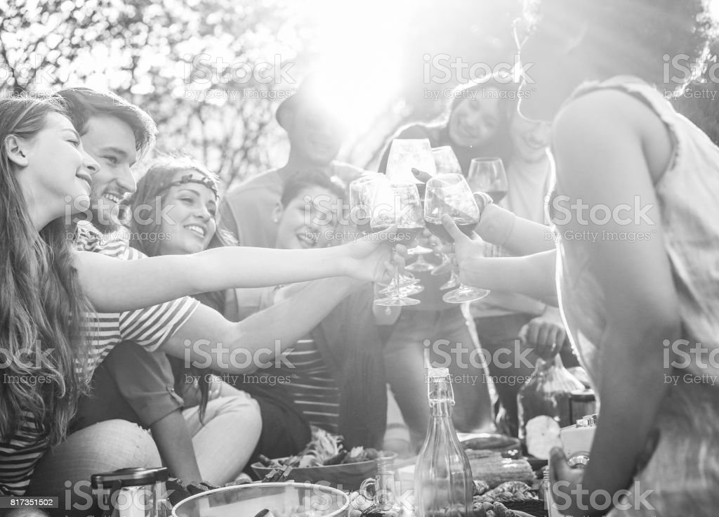 Happy friends cheering with wine glasses at pic-nic lunch outdoor - Young students having fun doing a toast and eating in nature - Food and youth concept - Focus on right bottom hand - Vintage filter stock photo
