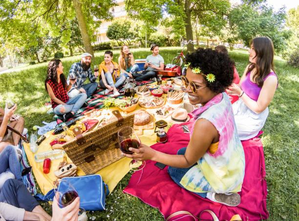 glückliche freunde machen picknick im volkspark im freien - trendigen jugendlichen spaß, essen und trinken wein - schwerpunkt afro mädchen gesicht - jugend, natur, freundschaft-konzept - mensch isst gras stock-fotos und bilder