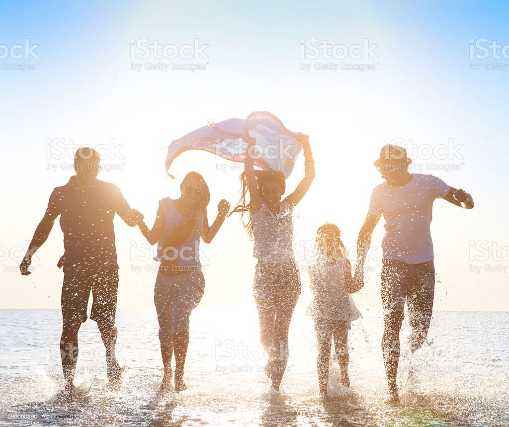 Happy friends сelebration beach party summer stock photo