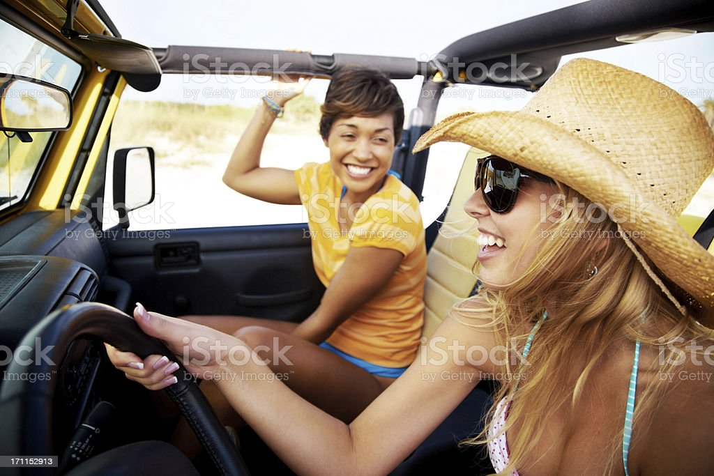 Happy friends enjoying a drive royalty-free stock photo