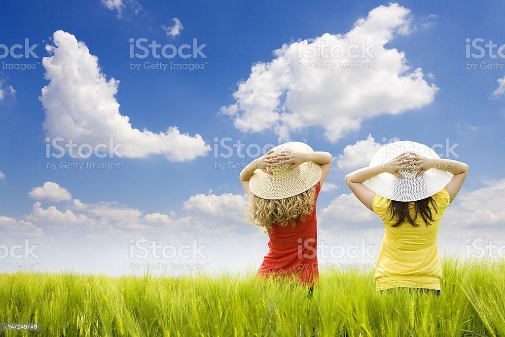 happy friends enjoying the summer royalty-free stock photo