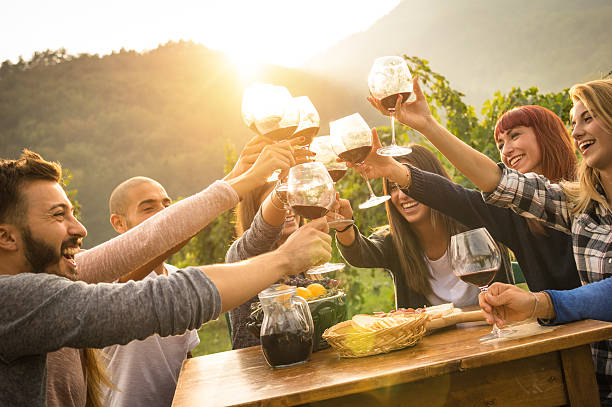 Happy friends having fun an drinking wine in autumn time stock photo