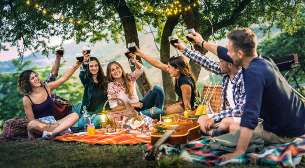 Happy friends having fun at vineyard on sunset - Young people millenial toasting at open air picnic under string light - Youth friendship concept with guys and girls drinking red wine at bar-b-q party stock photo