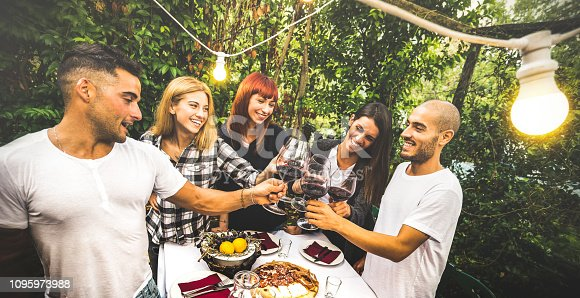 istock Happy friends having fun drinking red wine at backyard garden party - Youth friendship concept together at farm house vineyard winery - Focus on background young women with bulb lights lighting on men 1095973988