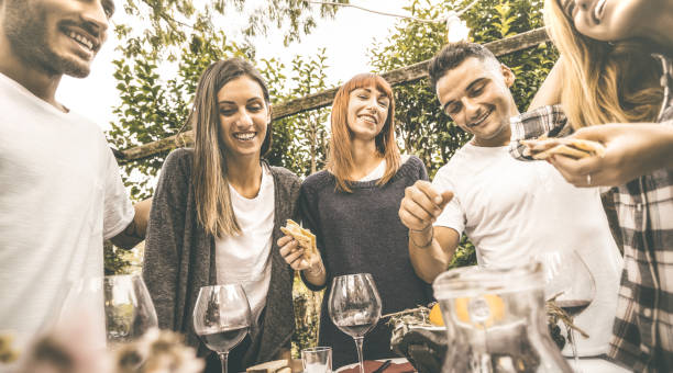 Cтоковое фото Happy friends having fun drinking red wine eating at garden party - Friendship concept together at farmhouse vineyard winery - Focus on girl in middle with retro desaturated opaque contrast filter