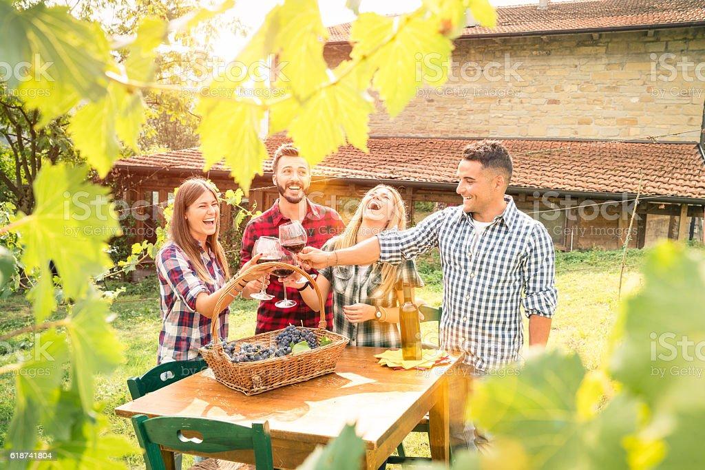 Happy friends having fun drinking wine at winery vineyard stock photo
