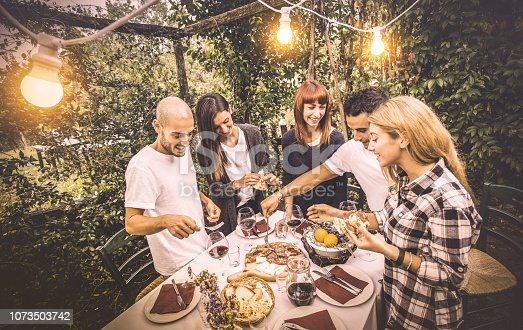 istock Happy friends having fun eating local food at garden fest - Friendship and holidays concept with people together at farmhouse vineyard winery - Warm vintage filter with artificial electric lighting 1073503742