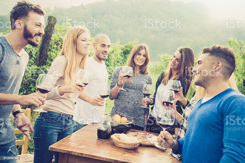 Happy friends having fun outdoor at backyard garden party stock photo