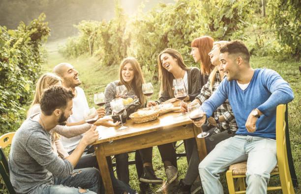 屋外赤を飲んで楽しんで幸せな友達ワイン - 暖かいコントラスト フィルターのフィールドの浅い深さで - 若い人たちは、農家のぶどう畑のワイナリーで収穫時に食品を食べる - 青春友情概念 - 田舎のライフスタイル ストックフォトと画像