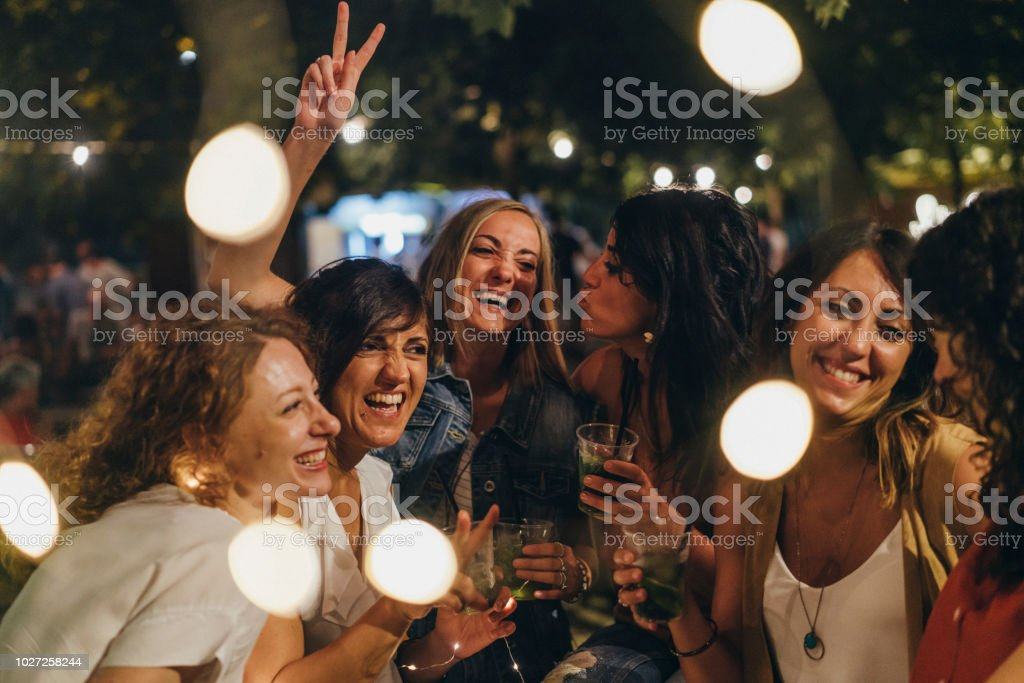 Happy friends having fun together stock photo