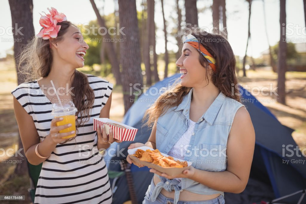 快樂的朋友在森林中露營時,按住食物 免版稅 stock photo