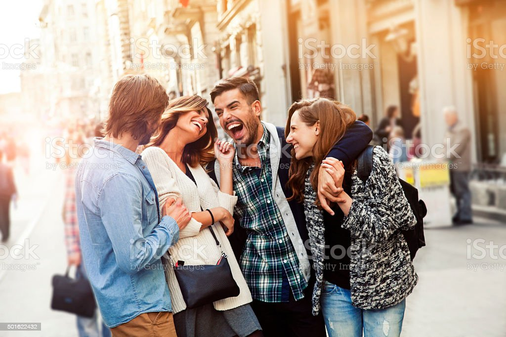 Happy friends in Istanbul. stock photo