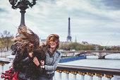 Young woman enjoying Paris together