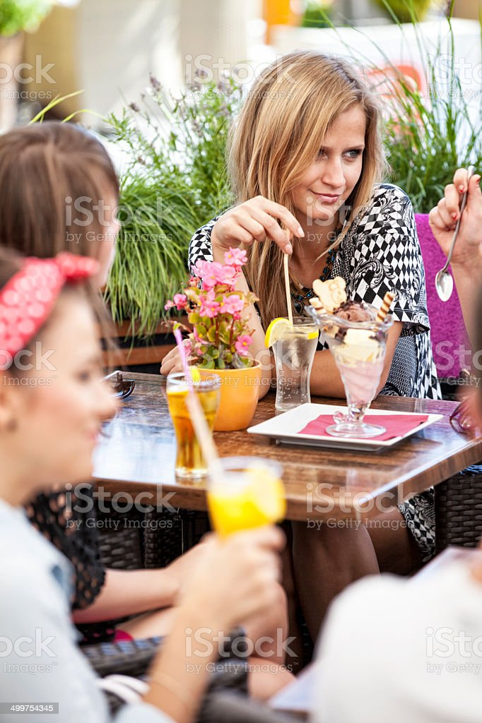 Happy Friends In Sidewalk Cafe royalty-free stock photo
