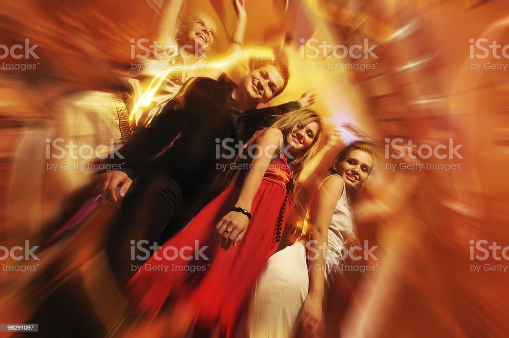 Happy friends in the night club royalty-free stock photo