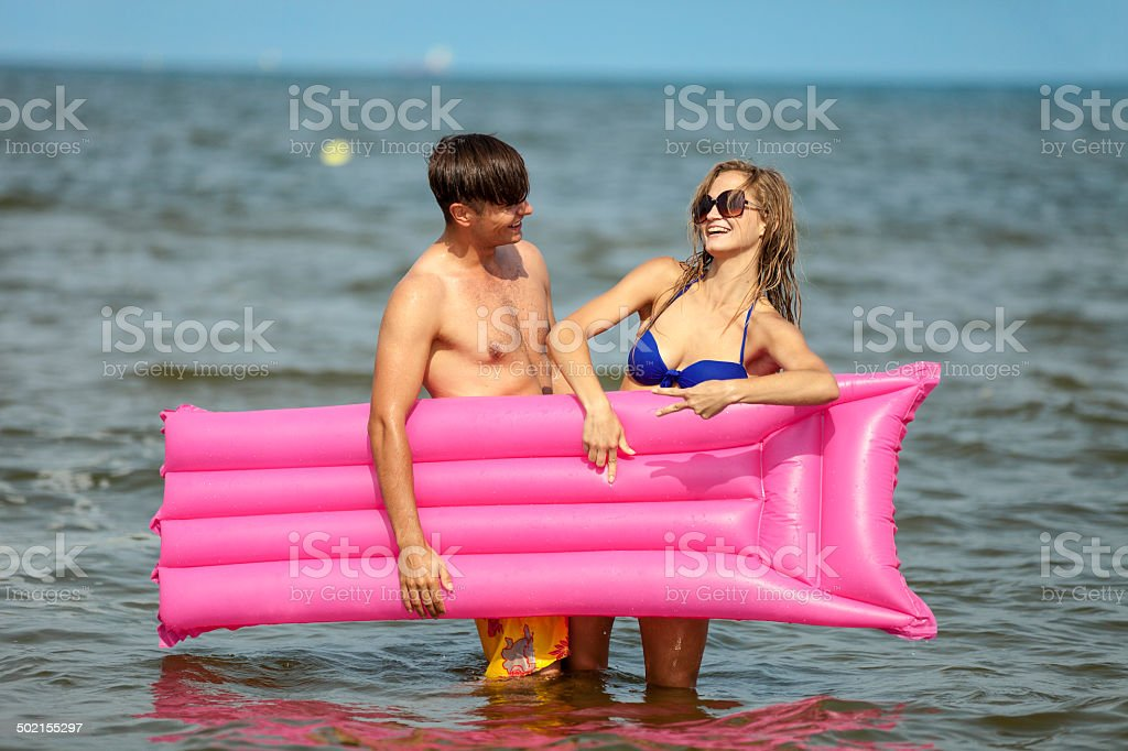 Happy Friends In Water royalty-free stock photo