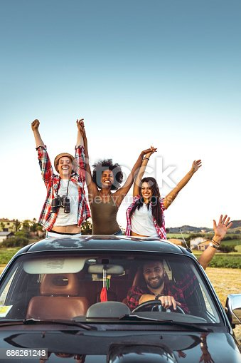 istock Happy friends on board of a pick-up truck 686261248