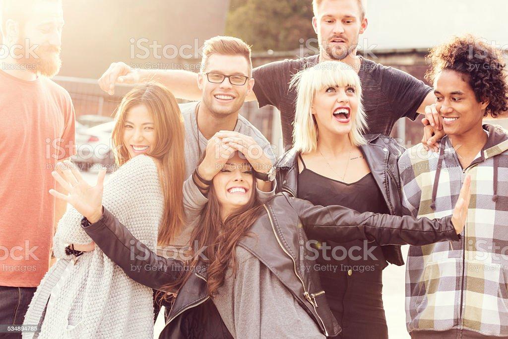 Happy Friends, outdoor portrait stock photo