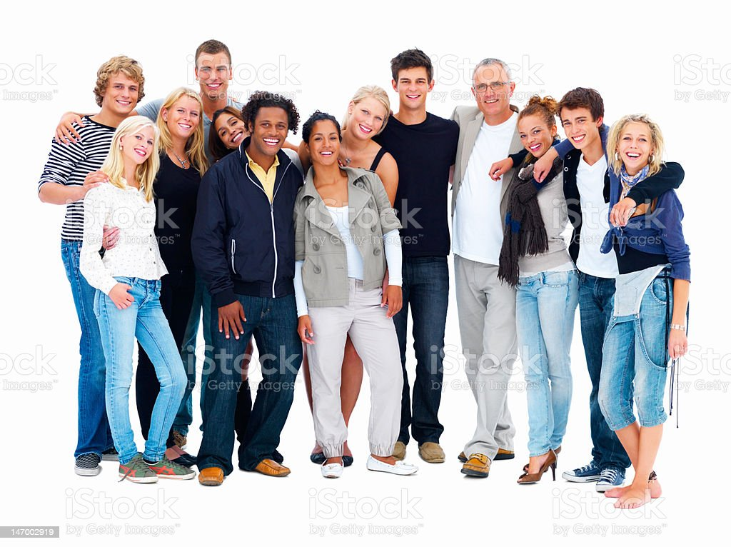 Happy friends standing against white background stock photo