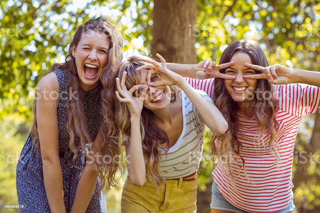 Happy friends taking a selfie stock photo