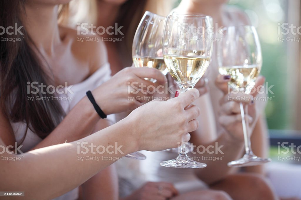 Happy friends toasting wine stock photo
