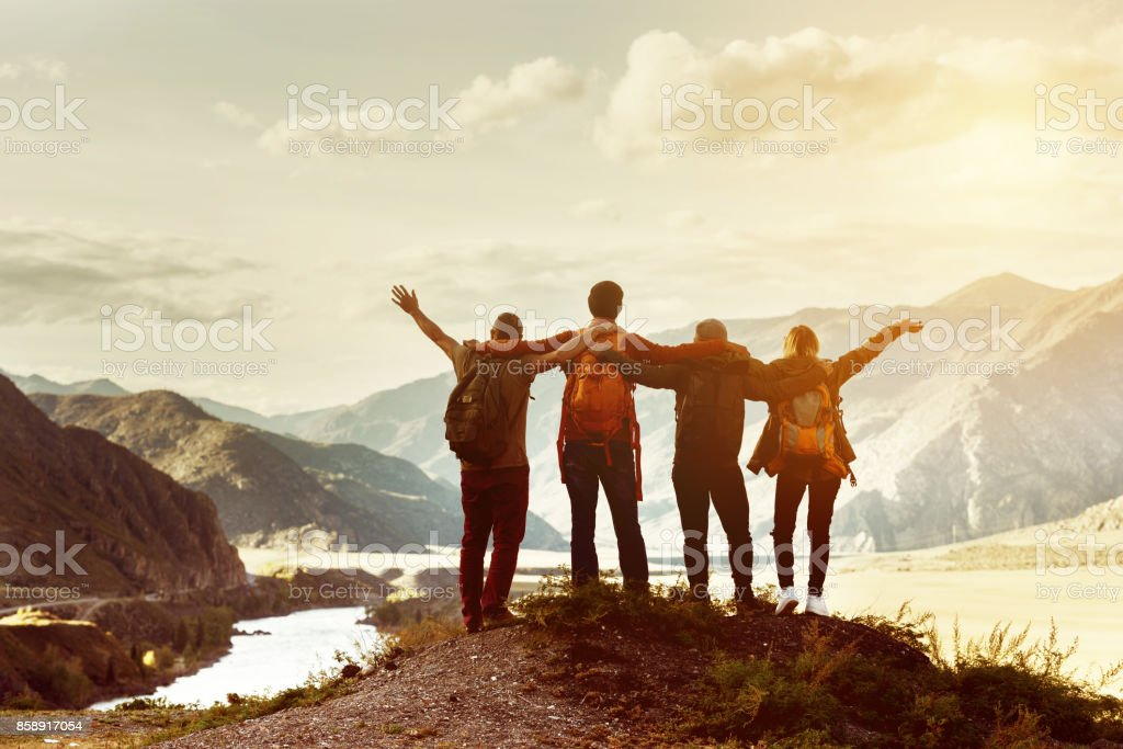 Happy friends travel expedition concept stock photo