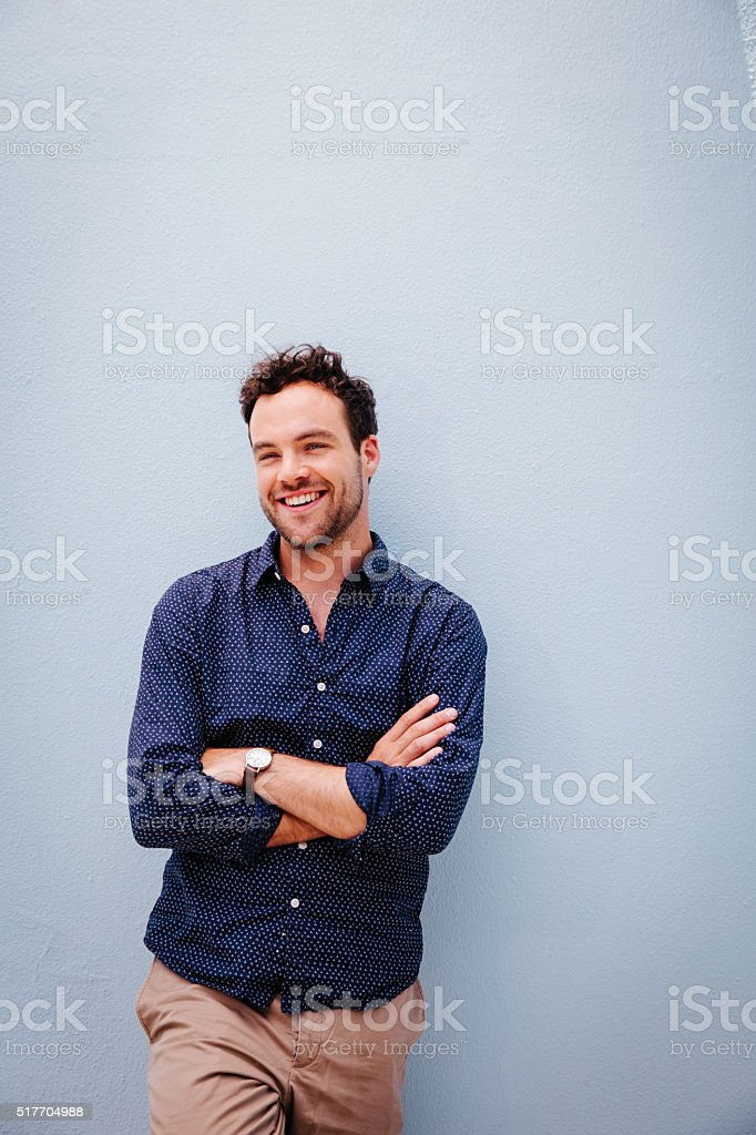 Happy, funny and handsome young man stock photo