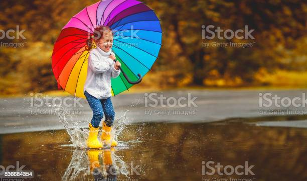 Photo of Happy funny child girl with  umbrella jumping on puddles in rubber boots