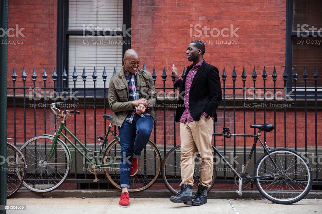 Happy gay couple in New York stock photo