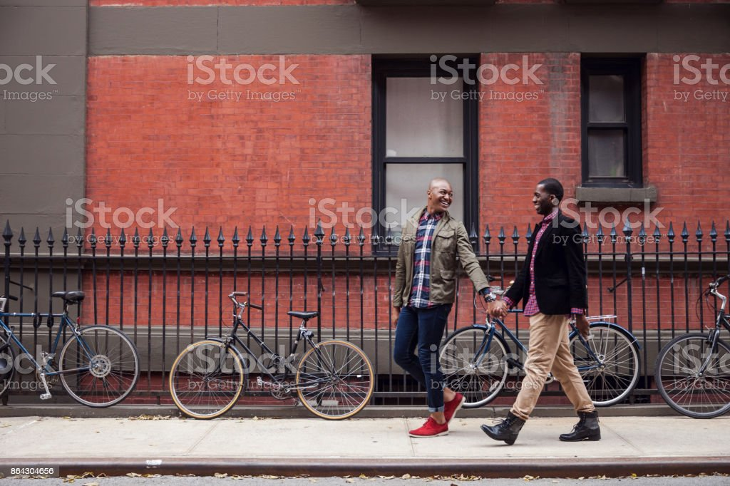 Happy gay couple in New York stock photo