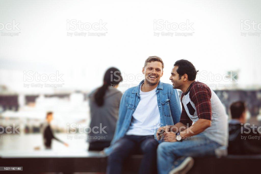 happy gay couple stock photo