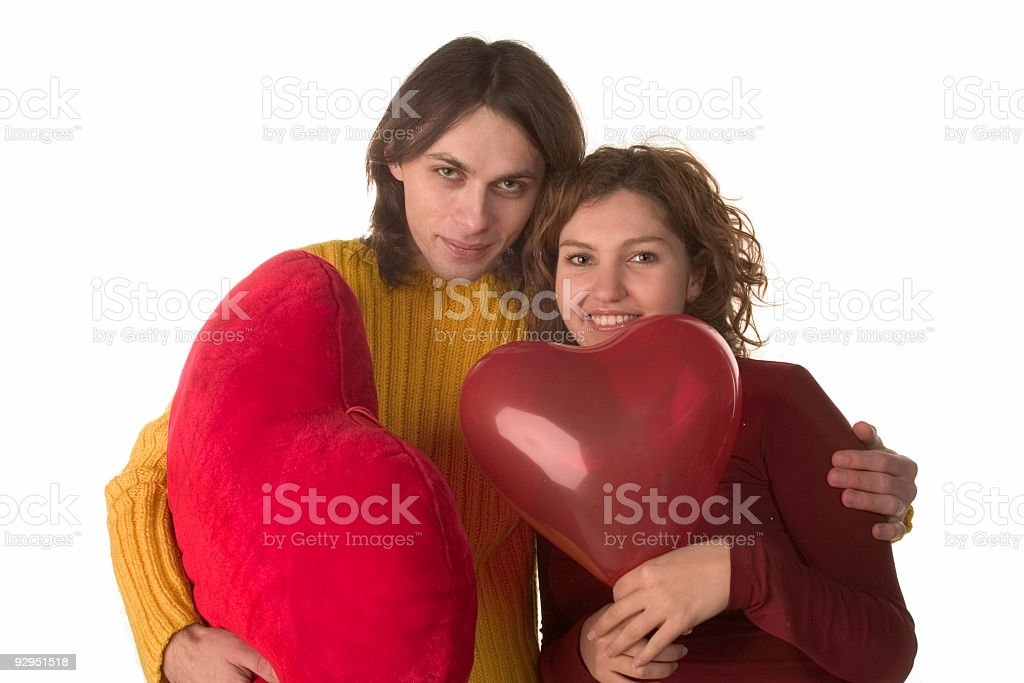 happy girl and boy with red hearts stock photo