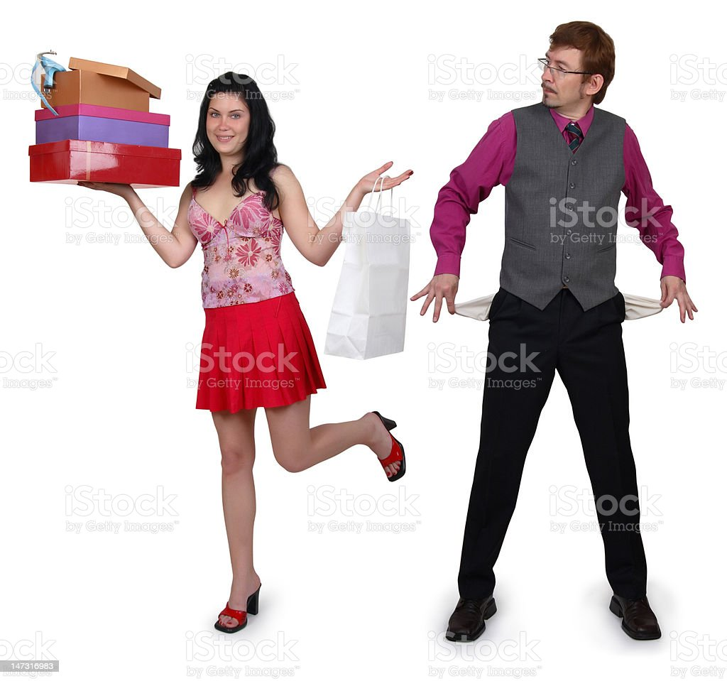 Happy girl and her boyfriend with empty pockets. royalty-free stock photo