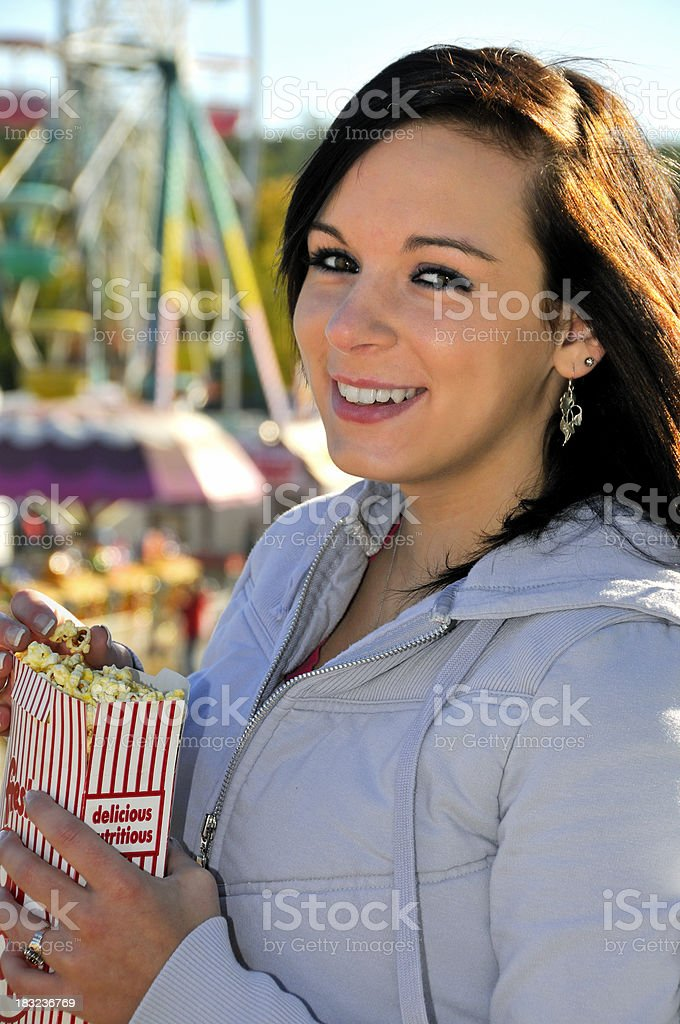 Happy Girl at a Country Fair stock photo