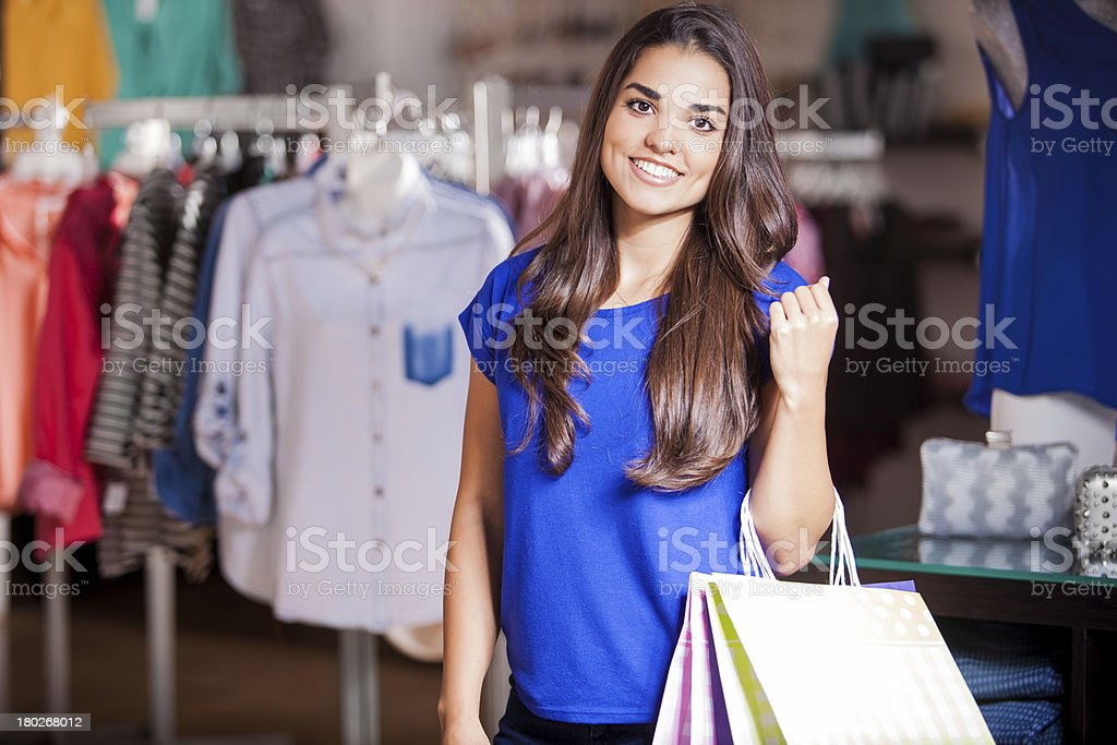 Happy girl doing some shopping royalty-free stock photo