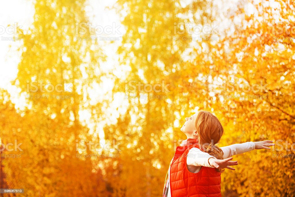 happy girl enjoying life and freedom in the autumn royalty-free stock photo