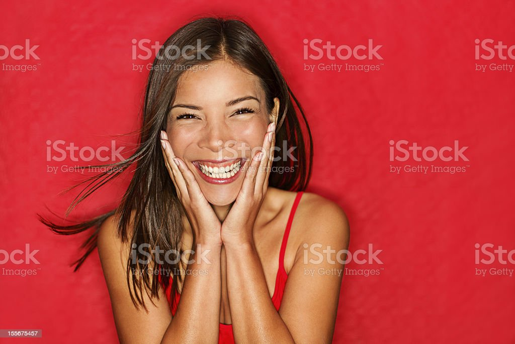 Happy girl excited stock photo