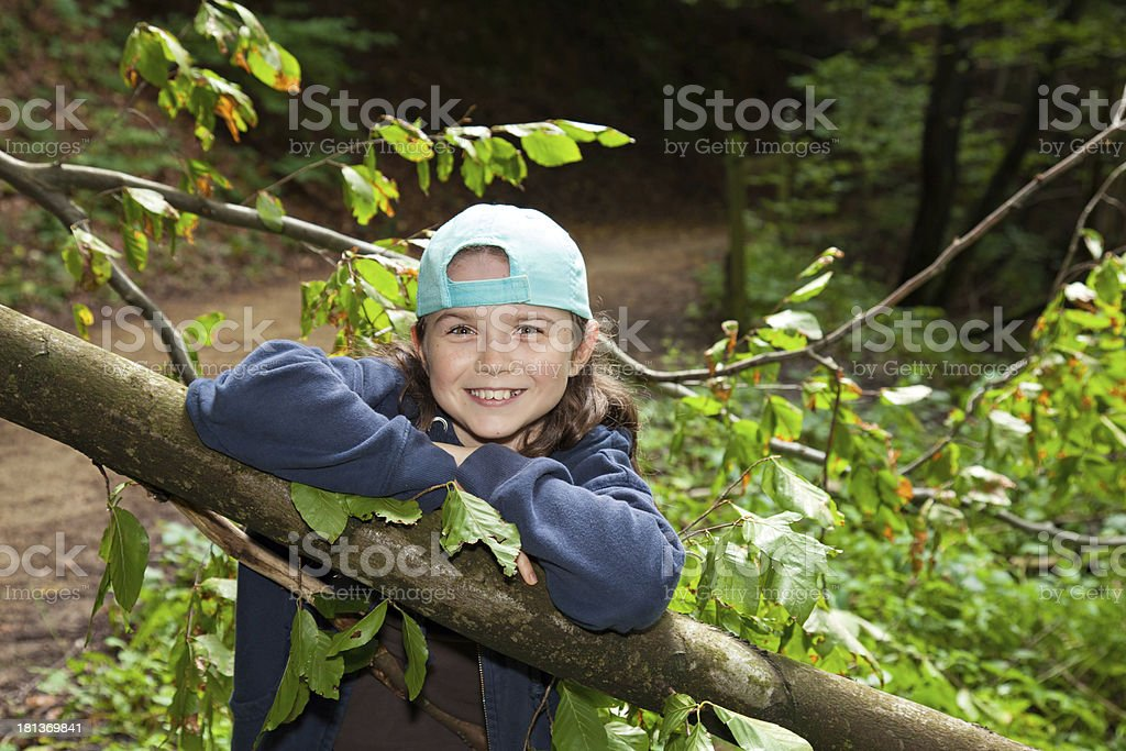 Happy girl in a forest royalty-free stock photo